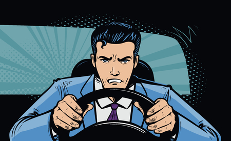Aggressive driver behind the wheel of car. Race, pursuit in pop art retro comic style. Cartoon vector illustration Vettoriali
