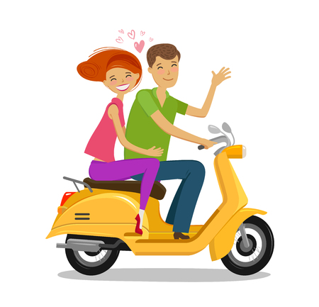 Happy couple riding scooter in cartoon  illustration.