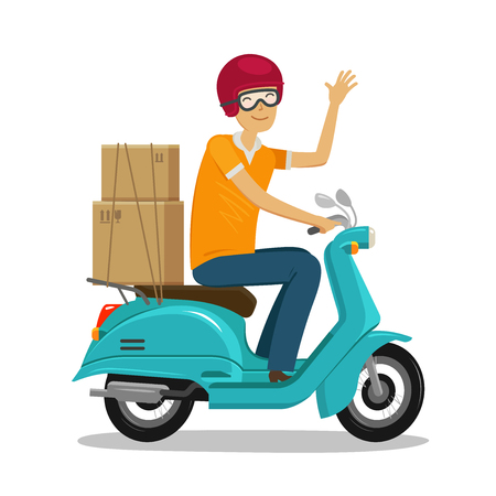 Expressversand, schnelles Versandkonzept. Glücklicher Kurier reitet Roller- oder Mopedkarikaturvektorillustration. Vektorgrafik
