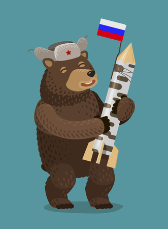 Happy bear holding rocket or nuclear missile in his paws. Russia, Moscow concept. Cartoon vector illustration Illustration