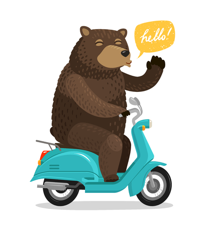 Funny bear riding a scooter. Circus concept. Cartoon vector illustration