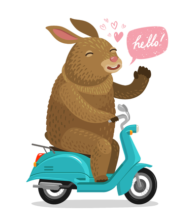 Easter Bunny riding on scooter. Cartoon vector illustration isolated on white background