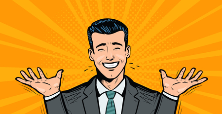 Happy businessman or student rejoices at success. Business concept cartoon in pop art retro comic style, vector illustration.