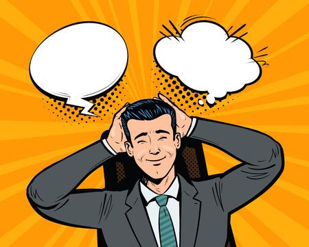 Happy businessman dreams. Fantasy, imagination, business concept. Pop art retro comic style. Cartoon vector illustration Illustration