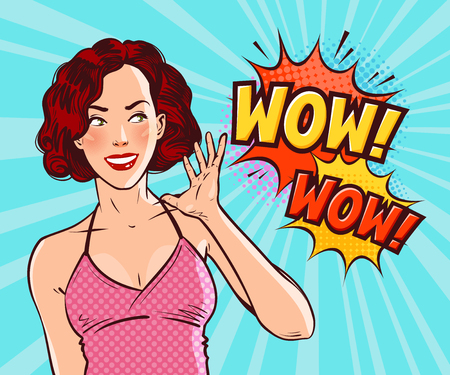 Beautiful girl or young woman in delight. Pop art retro comic style Cartoon vector illustration Иллюстрация
