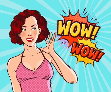 Beautiful girl or young woman in delight. Pop art retro comic style Cartoon vector illustration Stock Illustratie