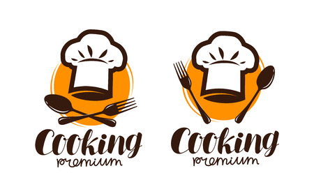 Cooking logo or label. Emblem for restaurant or cafe menu design. Lettering vector illustration Illustration
