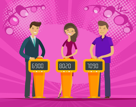 TV quiz show. People, players answer questions. Cartoon vector illustration Ilustrace