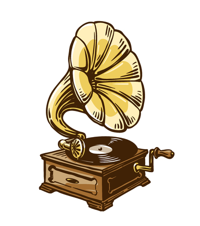Vintage phonograph, gramophone. Sketch vector illustration Illustration