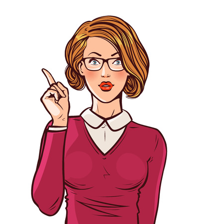 Beautiful girl or young woman with index finger. Pin-up, business concept. Pop art retro comic style. Cartoon vector illustration