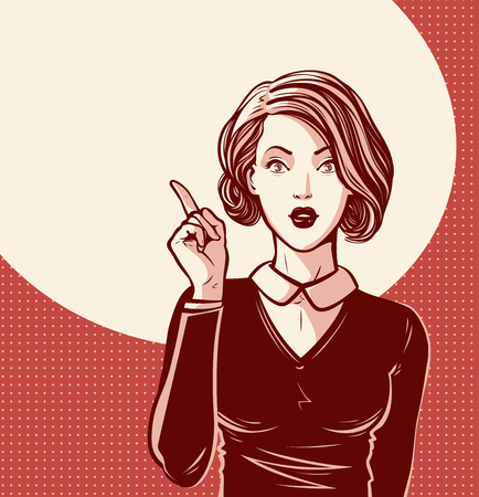 Beautiful girl or young woman with index finger. Pin-up concept. Pop art retro comic style. Cartoon vector illustration