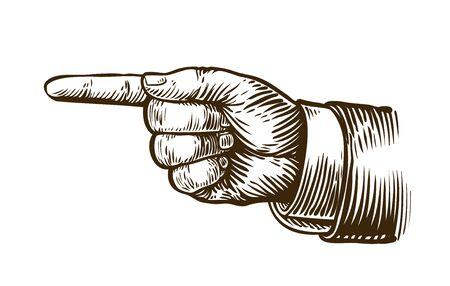 Pointing hand sketch. Forefinger, index finger. Vintage, retro vector illustration Фото со стока