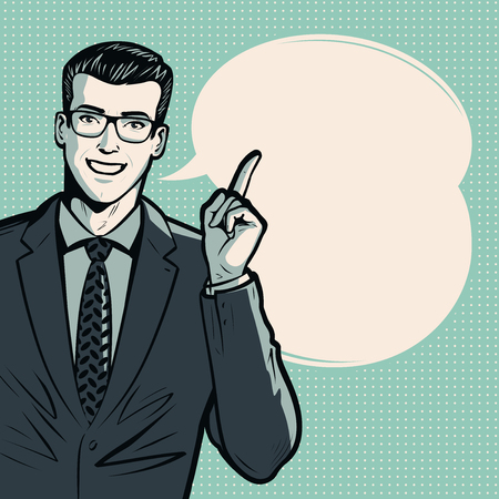 Businessman or man in suit. Business concept. Pop art retro comic style. Cartoon vector illustration