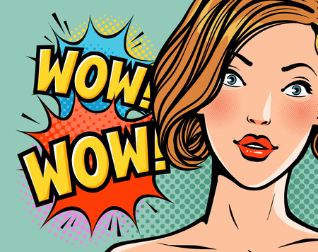Wow, surprised beautiful girl or young woman. Beauty, pin-up concept. Pop art retro comic style. Cartoon vector illustration.