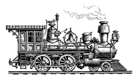 Retro steam locomotive, train Vintage sketch vector illustration