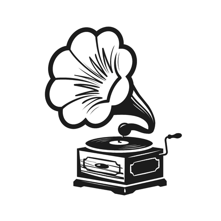 Gramophone, phonograph logo or label. Record player icon. Music concept vector illustration