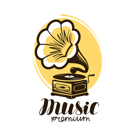 Music logo or label. Retro gramophone, phonograph symbol. Vector illustration Vectores