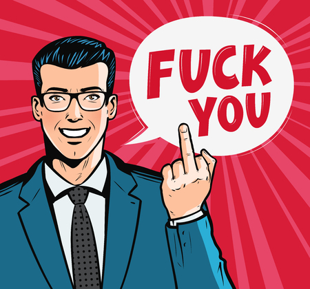 Smiling businessman or man in business suit showing middle finger. Fuck you, concept. Pop art retro comic style. Cartoon vector illustration