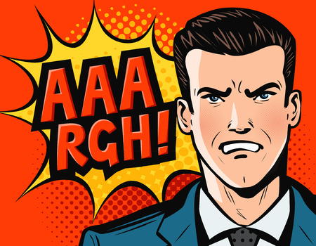 Angry businessman or man in business suit. Pop art retro comic style. Cartoon vector illustration Illustration