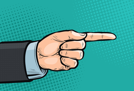 Pointing hand, forefinger, index finger. Pop art retro comic style. Cartoon vector illustration