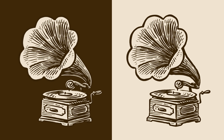Gramophone sketch vector illustration set