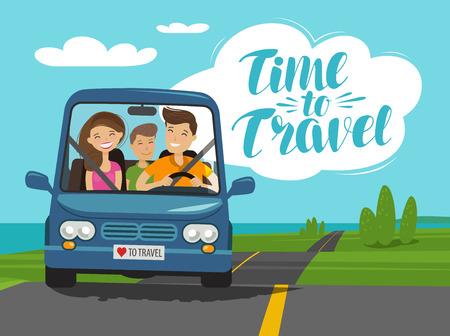 Family car journey image illustration Illustration