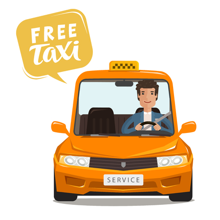 Free taxi, concept. Happy driver rides a car. Cartoon vector illustration Foto de archivo - 97930428