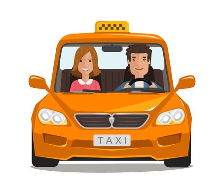 Taxi, taxi, coche de dibujos animados. Concepto de transporte. Ilustración vectorial