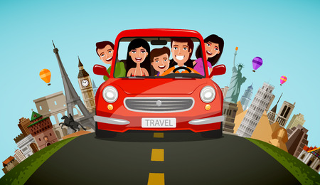 Happy family rides in car on vacation. Journey, travel concept. Cartoon vector illustration.