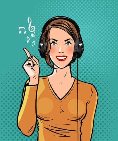 Beautiful girl in headphones listening to music. Pop art retro comic style. Cartoon vector illustration.