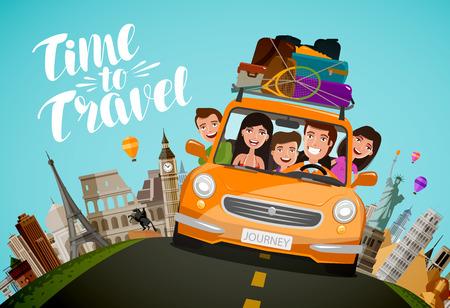 Viaggio, concetto di viaggio. Famiglia felice cavalca in auto in vacanza. Fumetto illustrazione vettoriale