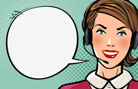 Beautiful girl or young woman with headset says. Call center, support, business concept. Cartoon vector illustration