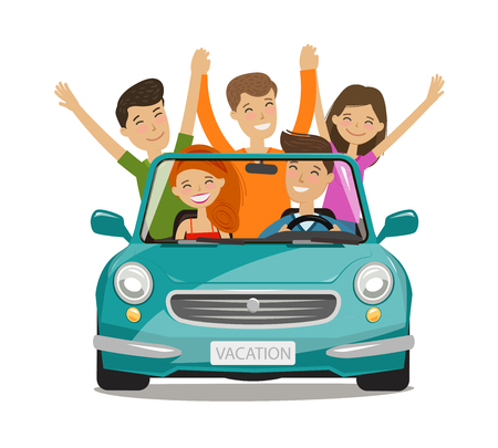 Vacation, journey concept. Happy young people or friends are traveling by car. Cartoon vector illustration