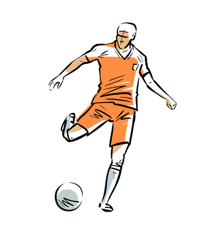 Soccer player runs with ball. Sport concept. Sketch vector illustration