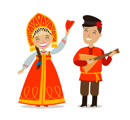 Russian people in folk national costume. Russia, Moscow concept. Vector illustration in flat style.