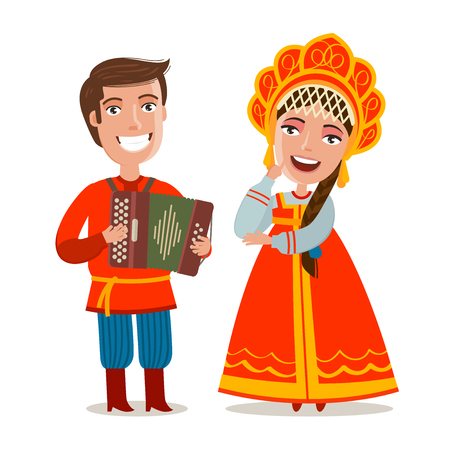 Happy Russian people in traditional national costumes.