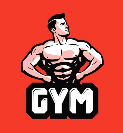 Gym, bodybuilding logo or label. Strong man with big muscles. Vector illustration Illustration