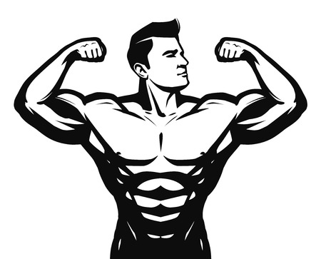 Gym, sport, bodybuilding logo or label. Strong man with big muscles Vector illustration