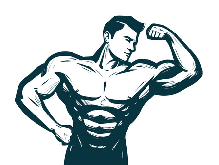Gym, bodybuilding sport concept. Male athletic body. Sketch vector illustration Standard-Bild - 98592096