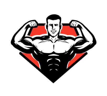 Gym, bodybuilding, weightlifting icon or label. Sport symbol vector illustration. Illustration