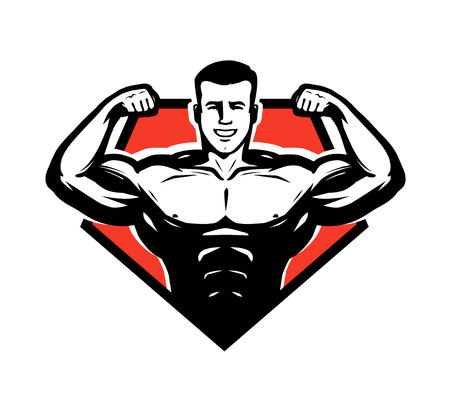 Gym, bodybuilding, weightlifting icon or label. Sport symbol vector illustration. Vettoriali