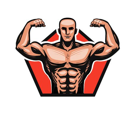 Gym, bodybuilding, fitness logo or label. Muscle male or bodybuilder. Vector illustration