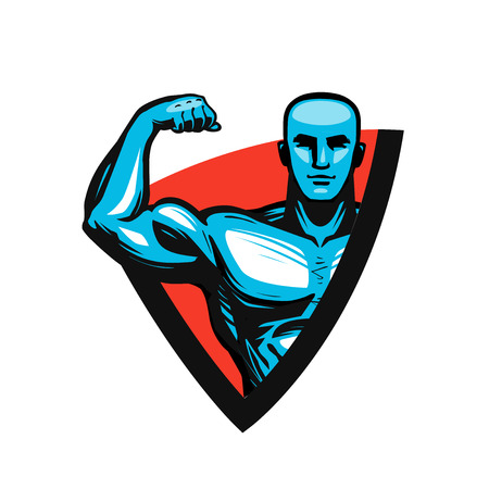 Gym, bodybuilding, fitness icon or label. Muscle male or bodybuilder. Vector illustration. 向量圖像