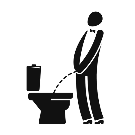 WC, funny symbol. Man or gentleman peeing in toilet. Vector illustration Illustration