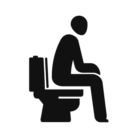 WC, funny symbol. Man sitting on toilet. Vector illustration Vettoriali