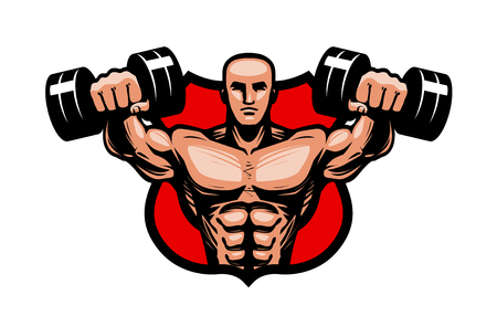 Gym, bodybuilding, sport logo of label. Bodybuilder heft zware haltershanden op. Vector illustratie Stockfoto - 98899859