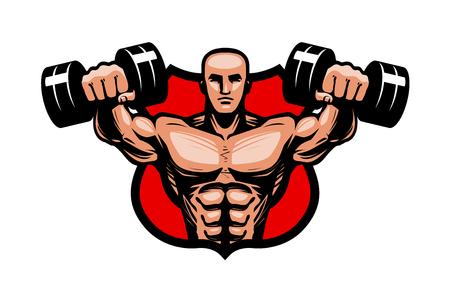 Gym, bodybuilding, sport logo or label. Bodybuilder lifts heavy dumbbells hands. Vector illustration Illustration