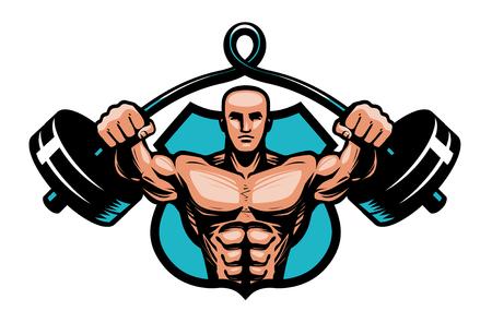 Gym, bodybuilding, sport logo or label. Bodybuilder with heavy barbell in hands. Vector illustration