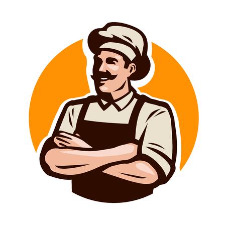 Chef, cook or baker logo. Cafe, restaurant, menu concept. Cartoon vector illustration