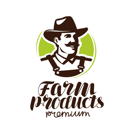 Farm products logo or label. Farmer icon, vector illustration